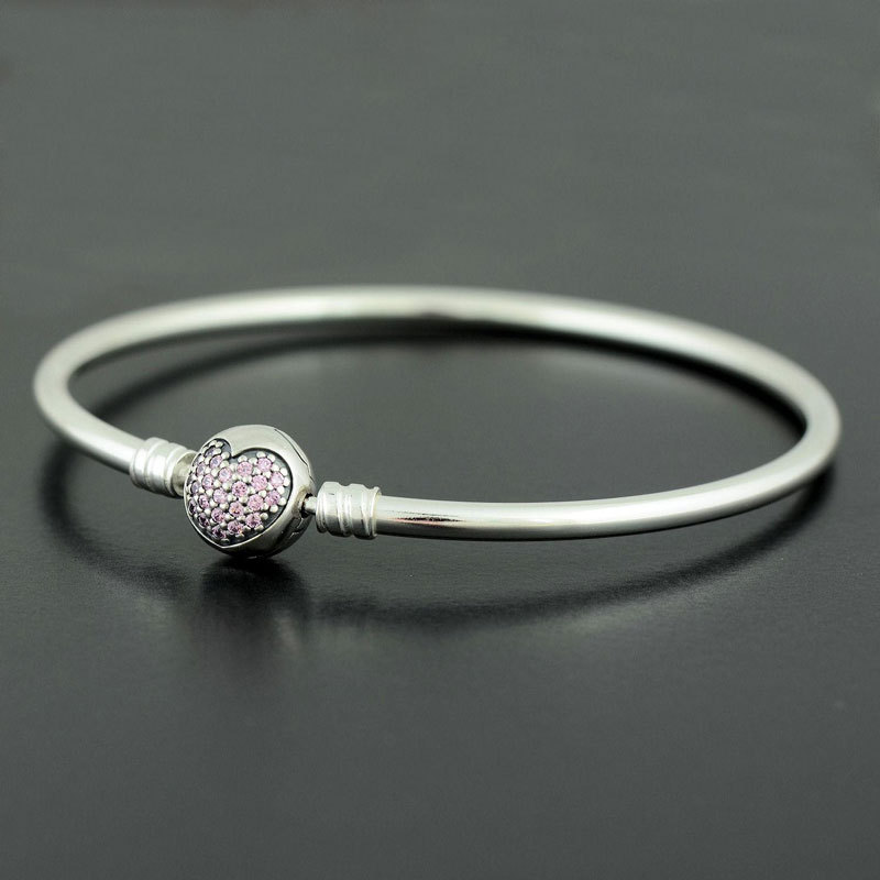 925 Sterling Silver You're in My Heart Bangle Bracelet with Pink Zirconia