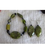 Funky Snake Skin Glass and Ceramic Bead Handmade Bracelet and Earring Set - $8.00