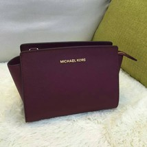 MICHAEL KORS Selma Meidum Saffiano Leather Crossbody Messenger Bag Wine Red - $155.00+