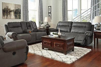 Ashley Austere 3 Piece Power Living Room Set in Gray Contemporary Style