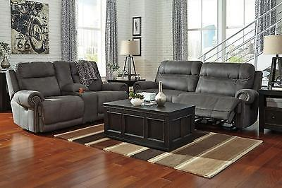 Ashley Austere 2 Piece Power Living Room Set in Gray Contemporary Style