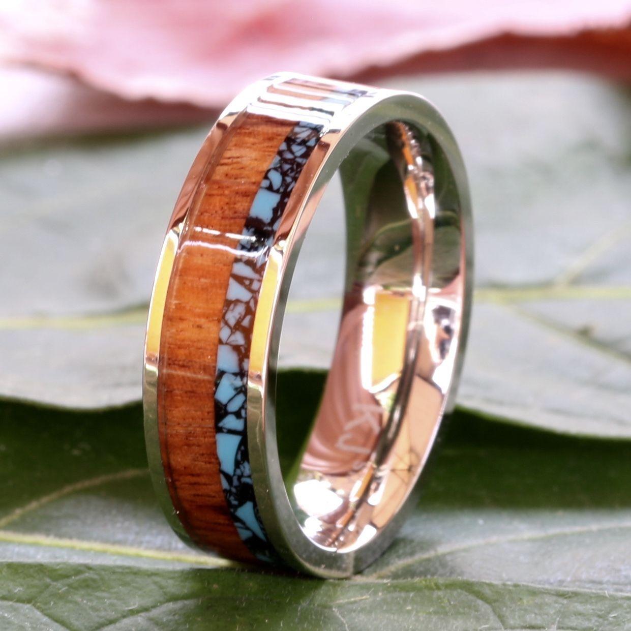 Men's Wedding Band Turquoise Koa Wood and 50 similar items