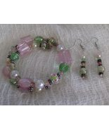 Carnation Pink Glass and Ceramic Bead Handmade Bracelet and Earring Set - $8.00