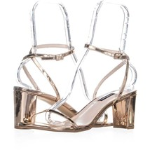 Nine West Provein Ankle Strap Block Heel Sandals 191, Pink, 10.5 US - $25.91
