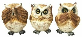 Wisdom Of The Forest See Hear Speak No Evil Great Horned Owls Figurine S... - $24.99