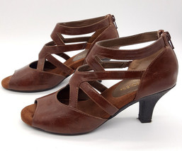 AEROSOLES Size 7 Brown Leather Strappy Open Toe... - $28.99