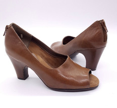 AEROSOLES Size 6.5 Brown Beige Leather Open Toe Block Heel Pump Shoes - $29.99