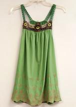 LANGUAGE LANGUAGE Size XS Green Brown Purple Floral Boho Embroidered Tan... - $24.99