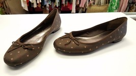 ETIENNE AIGNER Size 8.5 Brown Print Logo Slip O... - $89.99