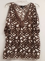 AGB Size XL Brown White Beaded V - Neckline Short Open Sleeve Top Shirt ... - $17.99