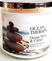Bath & Body Works Ocean Therapy 3 Wick Candle 14.5 oz. Silver Waved Lid - $28.96