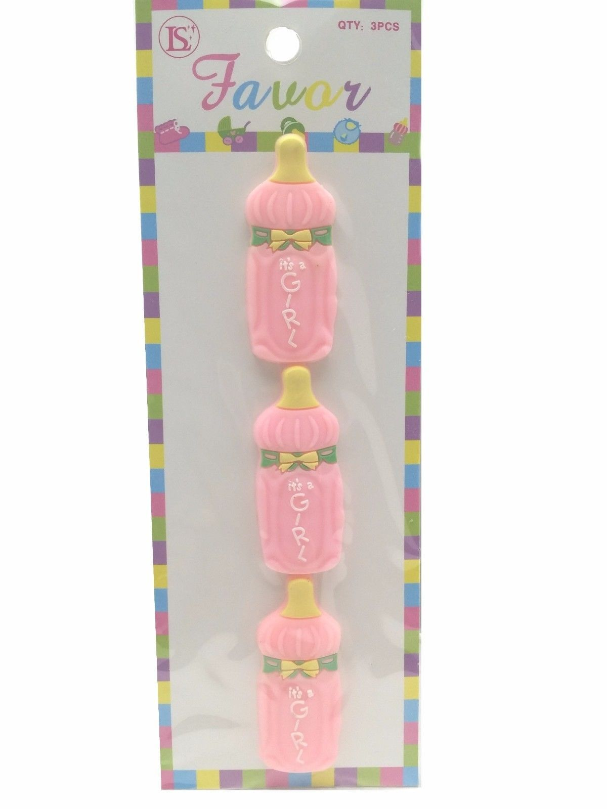 12 Flexible Pink Baby Bottle baby shower favors appliques - 4 pk of 3 image 2