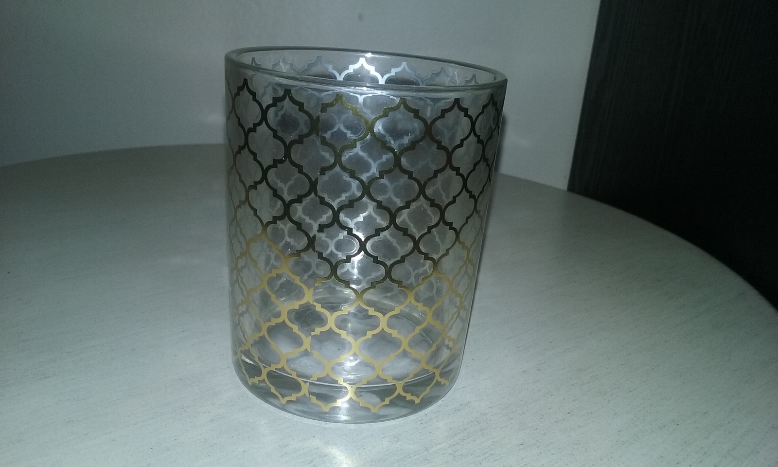 Clear gold patterned glass votive candle holder home for Household decorative items