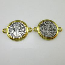 50pcs of Gold and Silver Saint Benedict Medal with Two Loops 0.9 Inch - $27.09