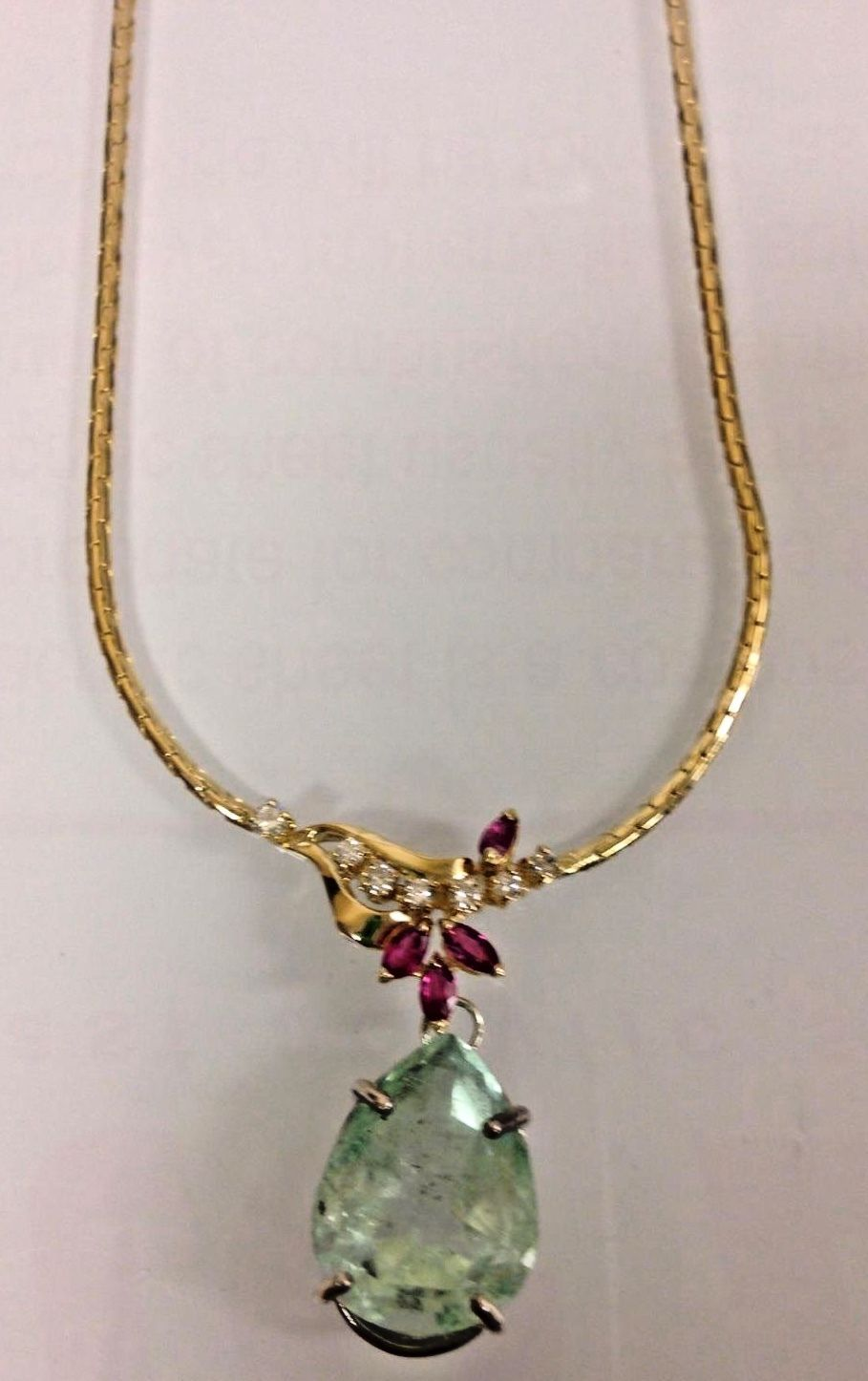 New GIA Certified Huge 14.5ct green beryl Emerald diamond ruby 14k gold necklace