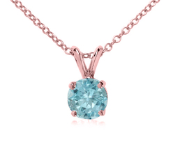 6.5 MM Aquamarine 18k Rose Gold Over 925 Silver Solitaire Pendant W/ Chain - $47.91