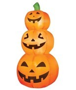 Halloween Inflatable Lighted 3 PUMPKIN STACK - 4' Tall - NEW - Indoor / ... - $37.94