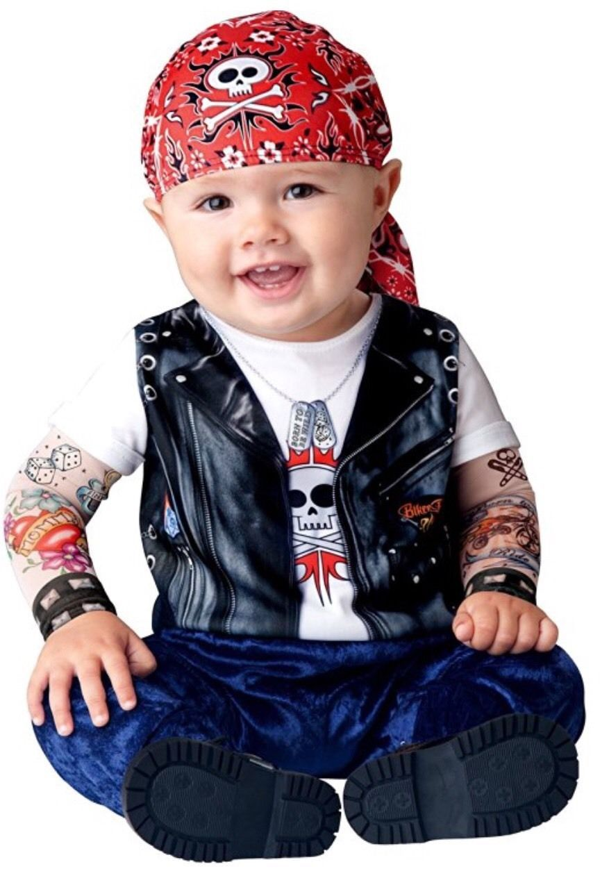 Born to be Wild Halloween Baby Infant Biker Costume Cute Mesh Tattoo Sleeves NEW