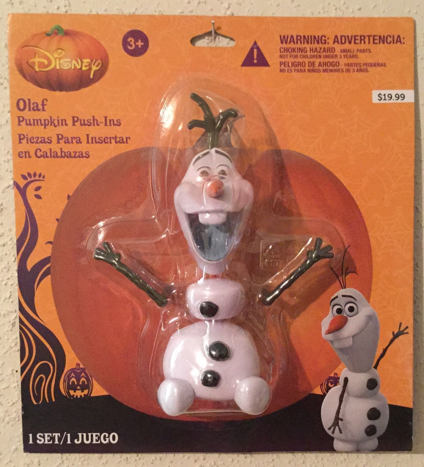 Disney's Frozen OLAF Pumpkin Push-Ins - 5 Plastic Pieces - Safe Halloween Decor