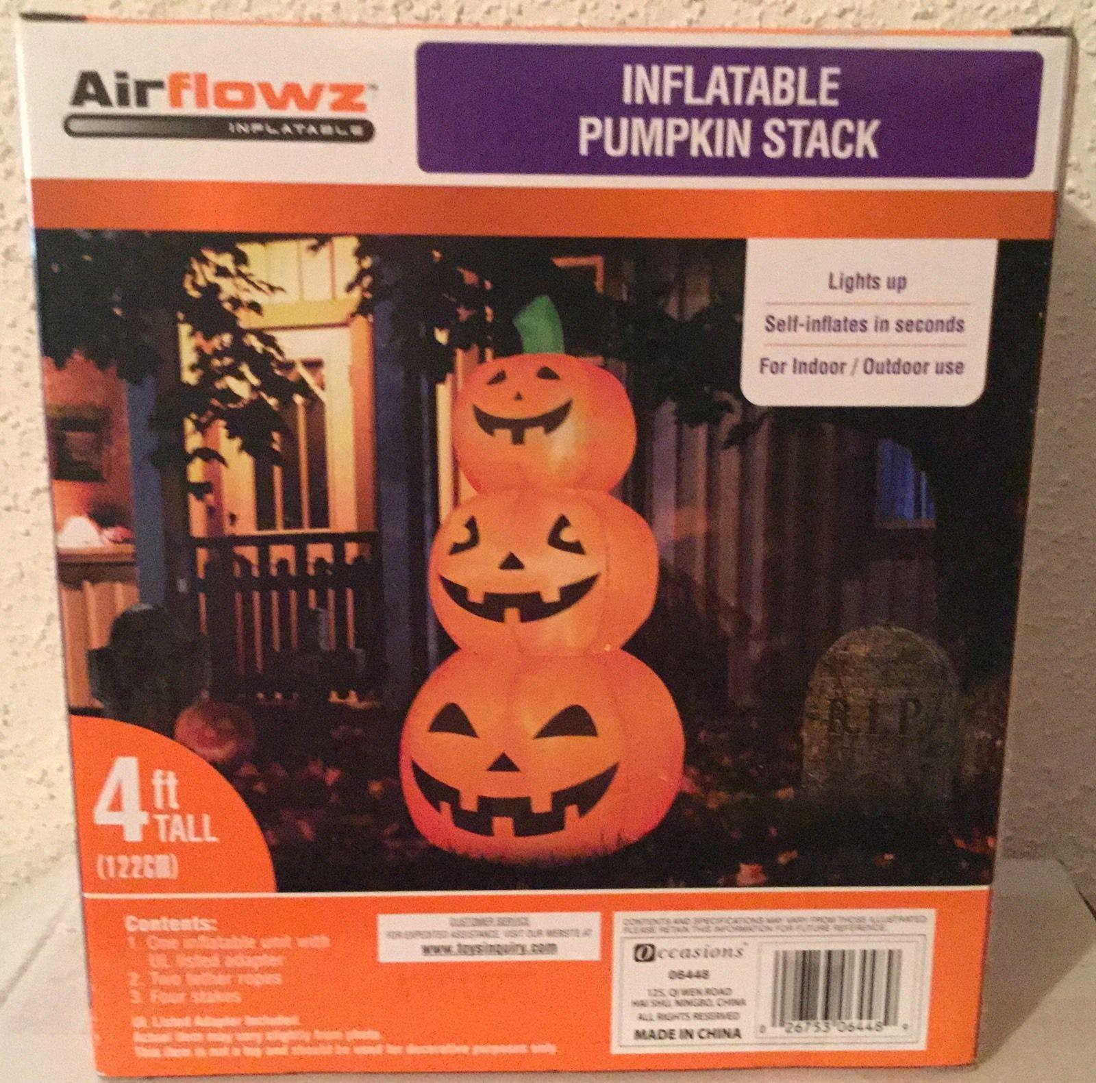 Halloween Inflatable Lighted 3 PUMPKIN STACK - 4' Tall - NEW - Indoor / Outdoor