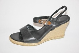 ETIENNE AIGNER - Black Leather Wedges with Wove... - $17.99