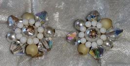 Vintage Aurora Borealis crystal clip on faux pearl signed Japan  Downton... - $21.00