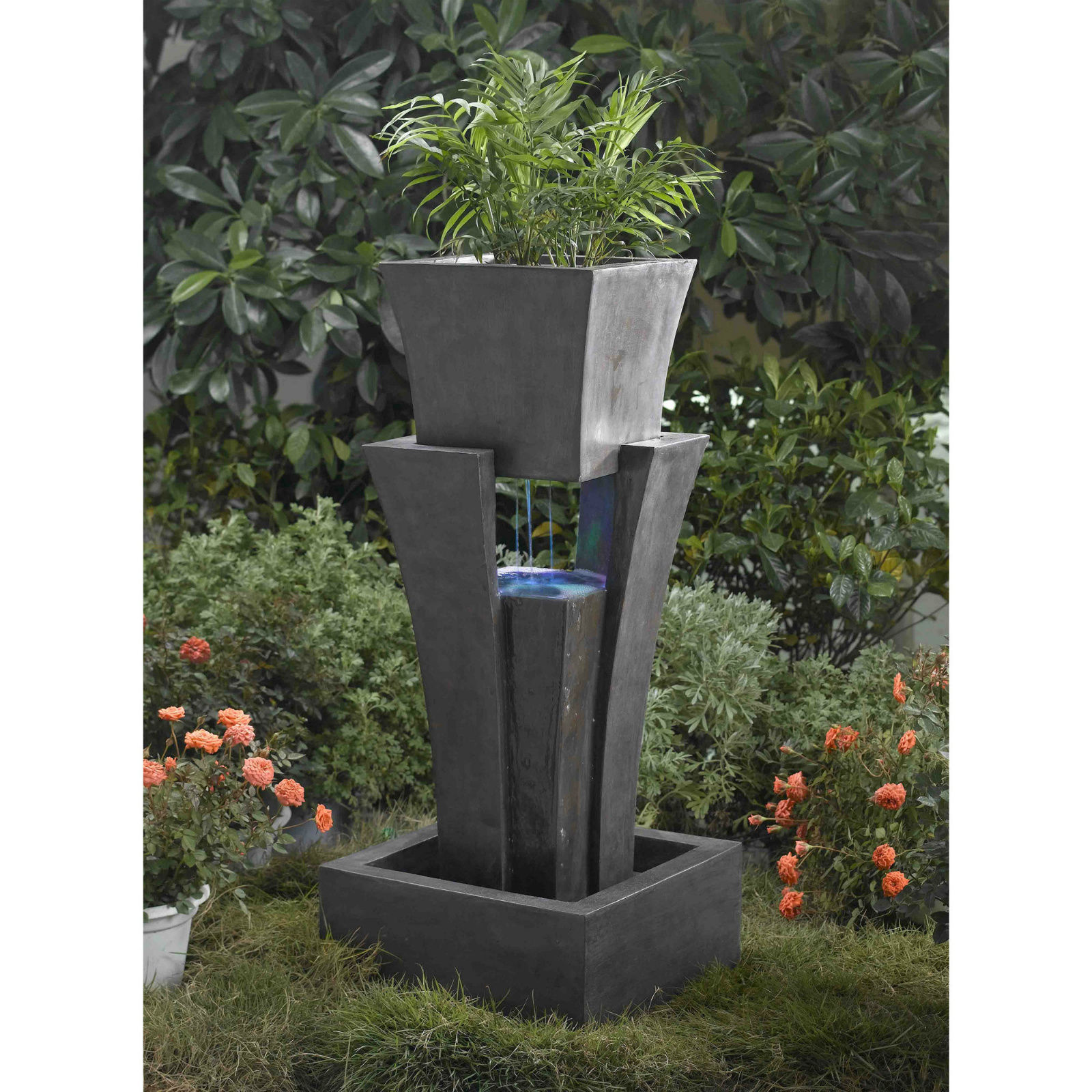 Backyard water fountains indoor home large commercial with for Large outdoor fountains