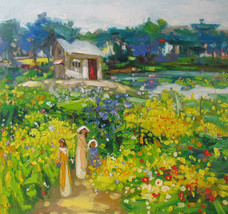 "Flower garden 2, a 24"" high x 28"" commissio... - $249.00"