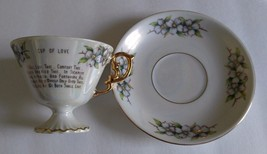 "Vintage Lusterware Pedestal Cup and Saucer ""Cup of Love"", I Will Love Th... - $15.00"