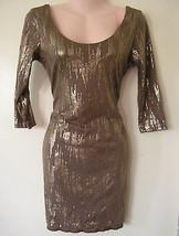 sexy bronze gold metallic mini stretch dress size medium 6 8 prom 3/4 sl... - $24.74
