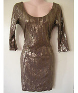 sexy bronze gold metallic mini stretch dress si... - $24.74