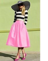 pink rockabilly midi skirt below knee retro size extra small xs xxs 2xs ... - $24.74