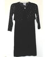 1990s vintage girls black velvet goth maxi bolero dress size 7 long part... - $9.89