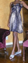 gold charlotte russe monroe pleated prom cocktail dress size xs xxs extra small - $24.74