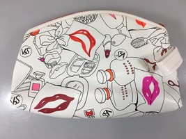 S5A Saks Fifth Avenue SFA White Make-Up Cosmetic Bag 7 1/2 x 5 x 2 1/2 - $18.13