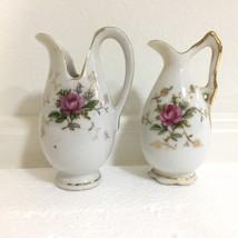 Pair of Vintage White Bone China Miniature Pitcher Pink Rose Design Worl... - $12.69