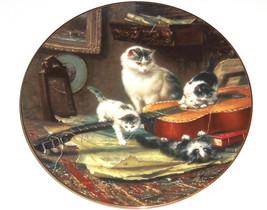 Victorian Cat Collector Plate String Quartet Guitar Kittens George Renne... - $49.95