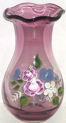 Primary image for Fenton Amethyst Glass Vase Teleflora Gift Floral Flowers