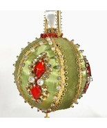 Handmade Christmas Ornament Green Red Beads Satin Sequins Push Pin Made ... - $19.26