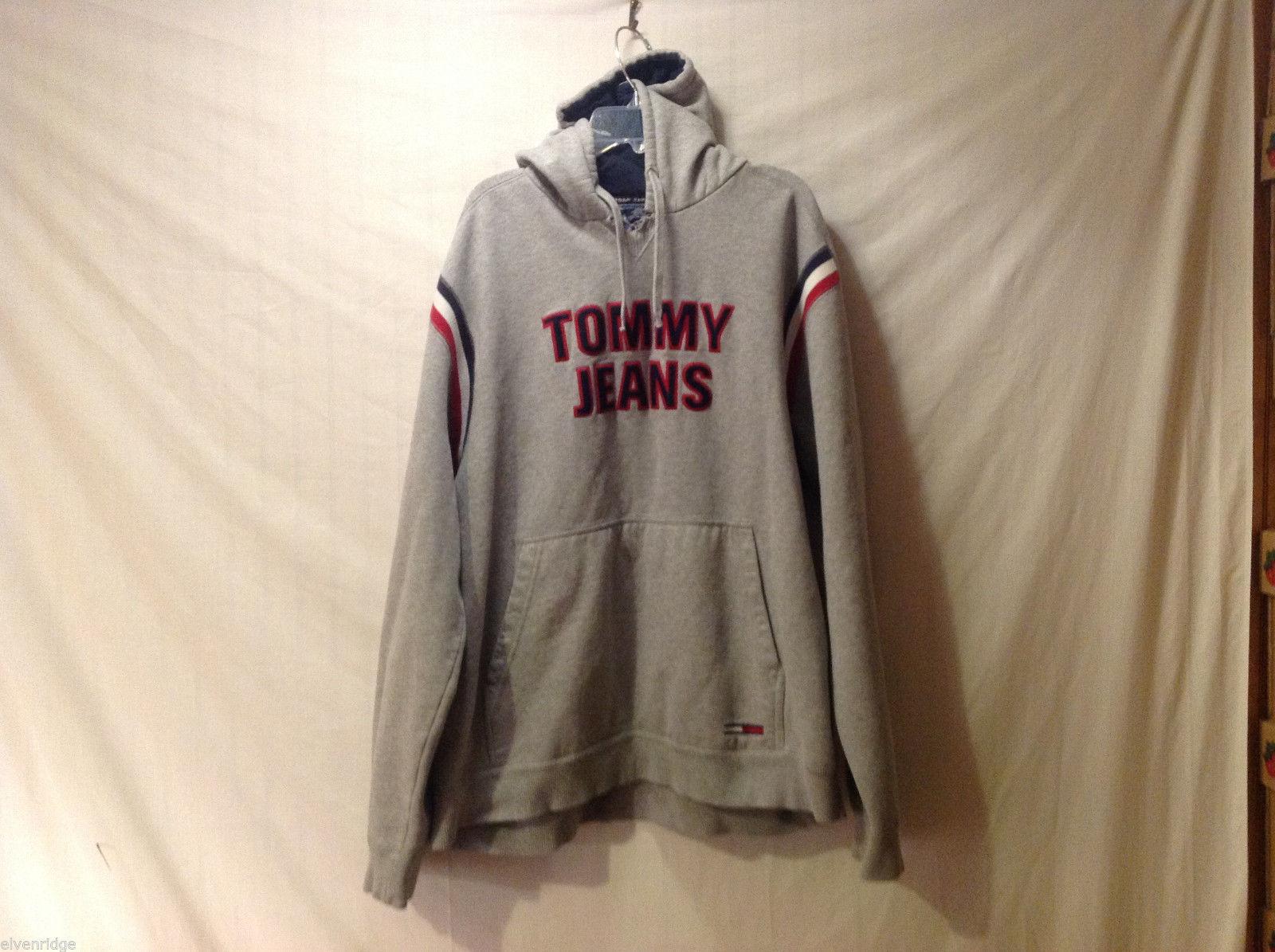 Tommy Hilfiger Jeans Men's XXL Hoodie Gray w/ Stripes Pocket Sweatshirt Pullover