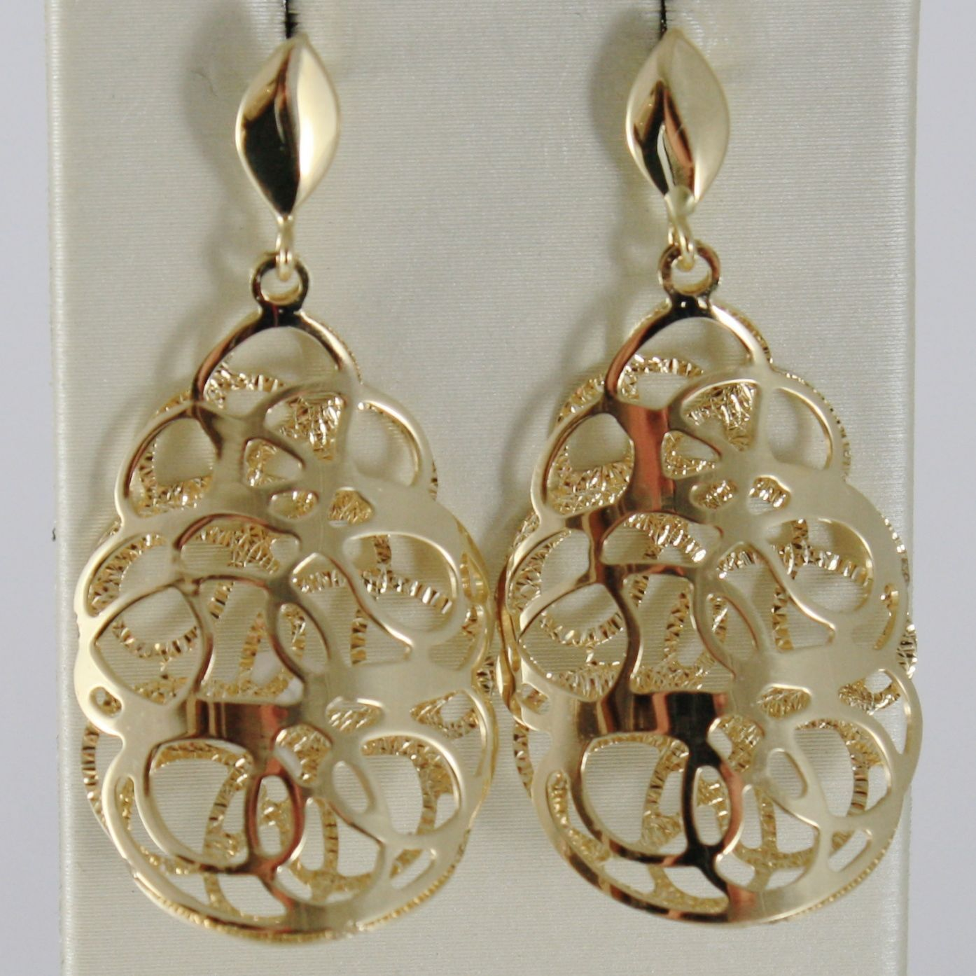 SOLID 18K YELLOW GOLD PENDANT EARRINGS FINELY WORKED DOUBLE CLOUD, MADE IN ITALY