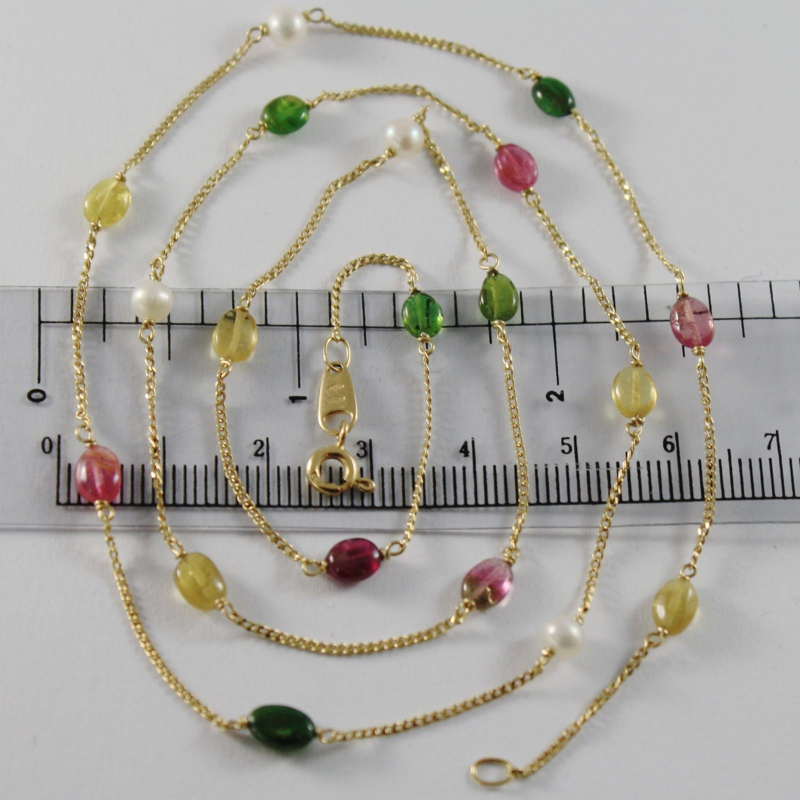 18K YELLOW GOLD MINI GOURMETTE CHAIN NECKLACE WITH OVAL TOURMALINE MADE IN ITALY