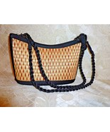 Baskets Of Cambodia Woven Straw Handbag With Black Fabric Trim Excellent... - $20.00