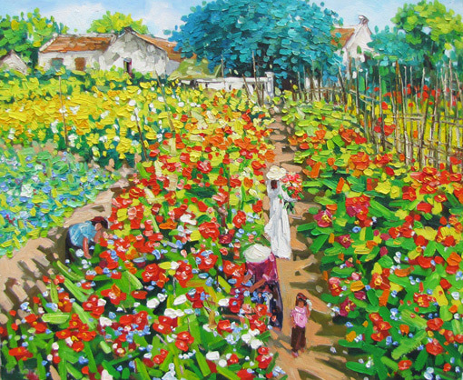 "Primary image for Flower garden at noon, a 24 x 32"" commission original oil painting by Phuo"