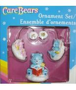 3 PC CARE BEAR CHRISTMAS HEIRLOOM ORNAMENTS STORYTELLER GOODNIGHT BEAR M... - $19.98