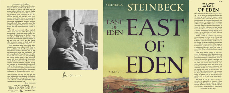John Steinbeck EAST OF EDEN facsimile dust jacket for first & early editions