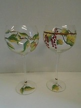 Pair 2 Two Grapevine Grapes Leaves Balloon Red Wine Glasses Hand Painted... - $51.13