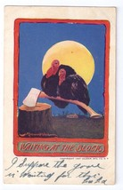 Artist Bernhardt Wall Signed Thanksgiving Postcard Turkeys Ax Moon Ullma... - $4.99
