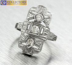 Ladies Antique Art Deco 1920s Filigree 14K 585 White Gold Diamond Cocktail Ring  - $539.35