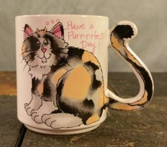 "Calico Cat ""Have A Purr-fect Day!"" Tail Handle Coffee Mug Tea Cup For Ca... - $9.41"
